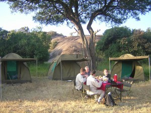 Real tourists budget camping Tanzania