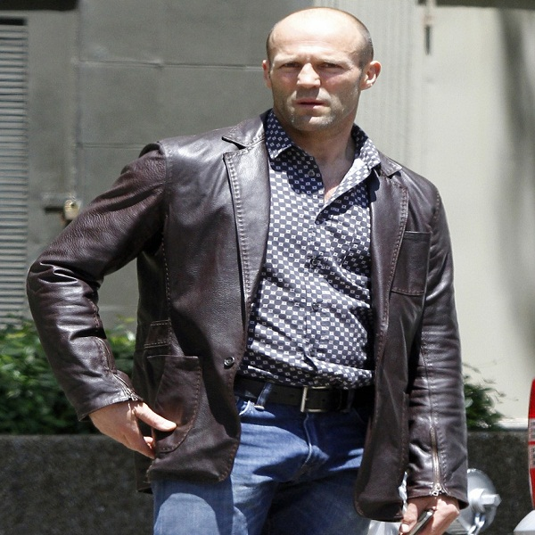 Jason Statham distressed leather jacket