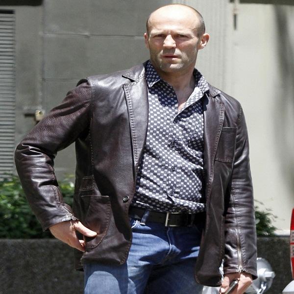 Jason Statham distressed leather jacket